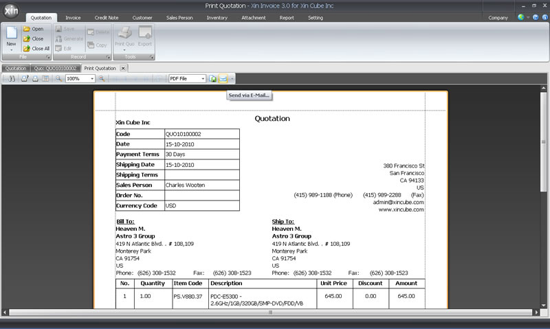 Quotation Software Estimation Software - How to send quotation email to customer