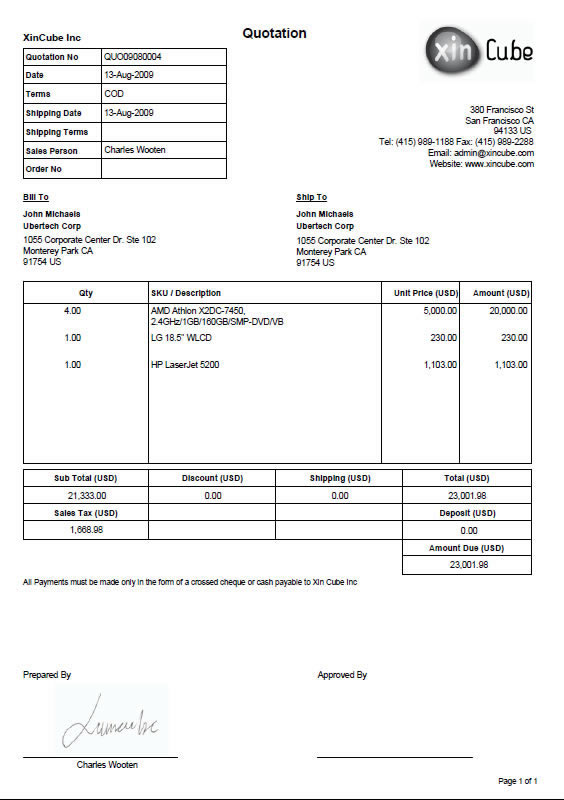 Quotation Template Invoice Template Sample Invoice